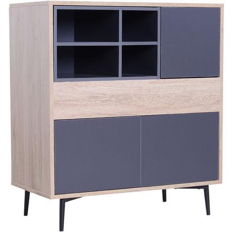 HOMCOM Elevated Storage Cabinet Sideboard Chest Cupboard Display Organiser Wood Freestanding 78Lx39Wx87.2H cm
