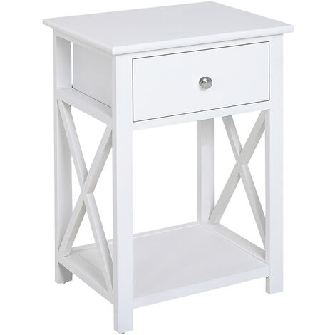 Homcom End Table Wooden Drawer Shelf Lamp Stand Indoor Furniture White