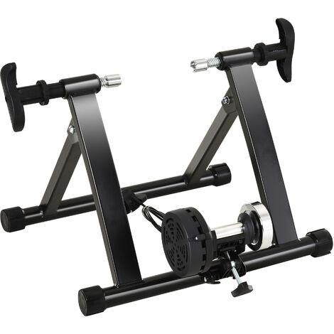 HOMCOM Entrenador de Bicicleta Ejercicio Plegable con Resistencia de 8 Niveles Acero 120kg Negro - Negro