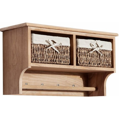Homcom Entryway Coat Rack Wall Mounted Shelf w/ Wicker Basket 2 Baskets