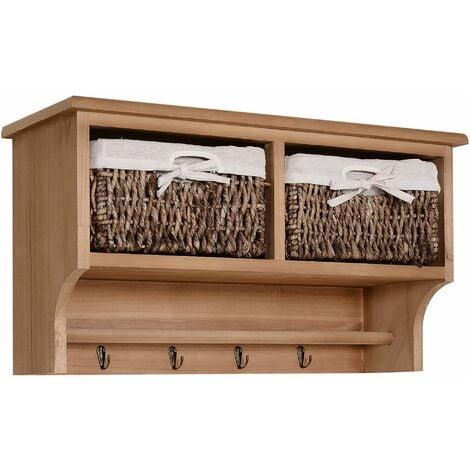 HOMCOM Entryway Coat Rack Wall Mounted Shelf w/ Wicker Basket 2 Baskets - Light Brown