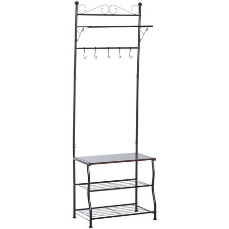 Homcom Entryway Multipurpose Metal Cloth Stand 3 Tier Shoe Rack w/ 5 Hooks