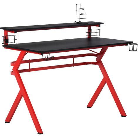 HOMCOM Ergonomic Gaming Desk Computer Table Workstation w/ Controller Holder