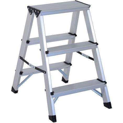HOMCOM Escalera de Tijera Aluminio Plegable Escalera Doméstica de Mano Carga 150kg 3 - Plateado