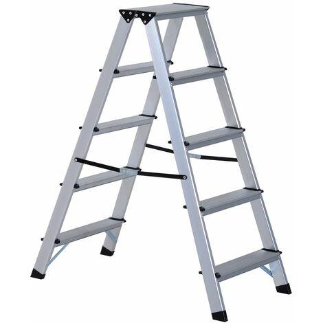 HOMCOM Escalera de Tijera Aluminio Plegable Escalera Doméstica de Mano Carga 150kg 5