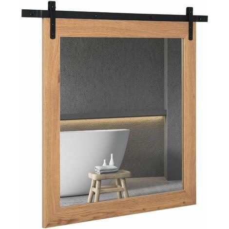 HOMCOM Espejo de Baño Montado en Pared con Diseño de Puerta Granero Corrediza 84x2x74cm - Madera Natural