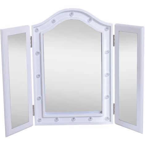 HOMCOM Espejo de Maquillaje con Luz LED Plegable Espejo Triple de Mesa 73x53.5x4.5cm