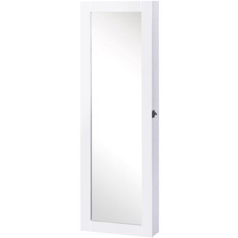 HOMCOM Espejo Joyero 112cm Armario para Joyas para colgar en Pared Color blanco lacado