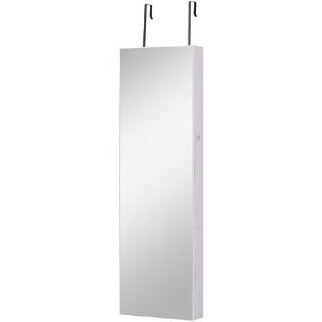 HOMCOM Espejo Joyero Colgante de Pared o Puerta con LED 5 Estantes 2 Cajones Pequeños