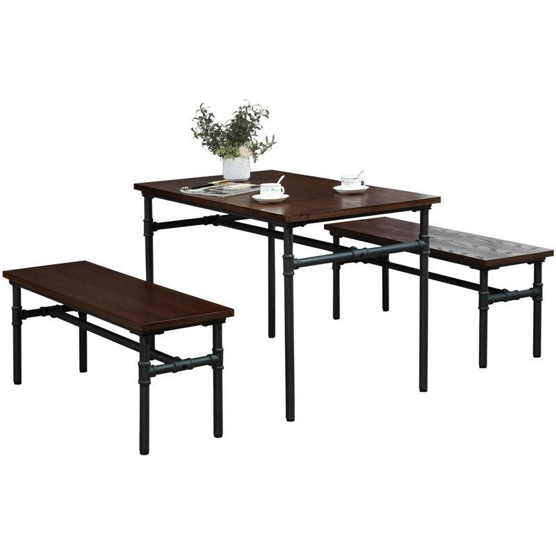 HOMCOM® Essgruppe mit 2 Bänken Esszimmergarnitur Sitzgruppe Tischgruppe Natur+Schwarz - natur/schwarz
