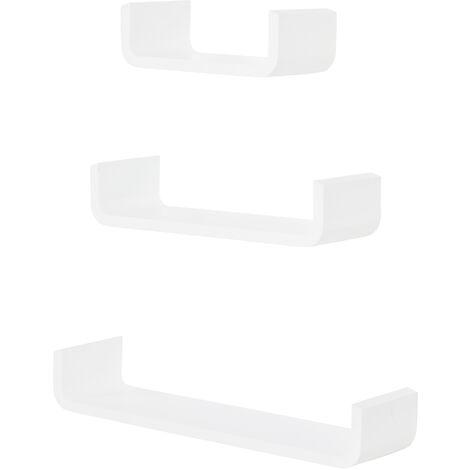 HOMCOM Estante Flotante de Pared 3 Piezas Estantería Colgante Color Blanco