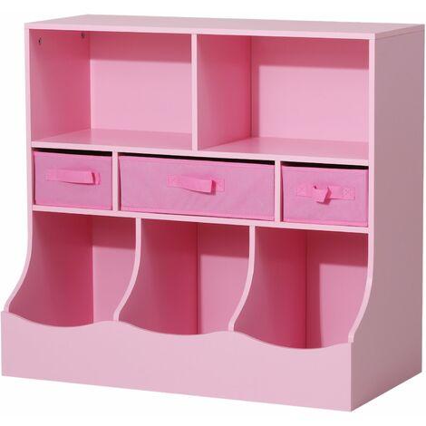 HOMCOM Estante Organizador para Juguetes Libros Habitación Infantil 3 Niveles 8 Cajas