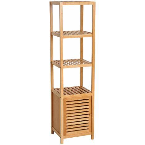 HOMCOM Estantería de Bambú para Baño Armario Alto Librería Organizador 4 Nivel 1 Puerta