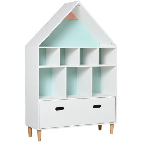 HOMCOM Estantería de Madera Infantil con 8 Compartimentos en Forma de Casa de 2 Colores - Blanco