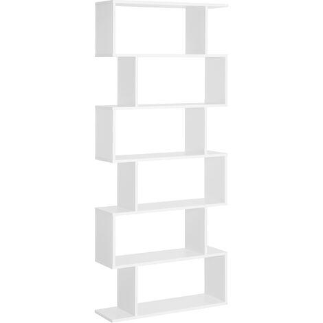"""main image of """"HOMCOM Estantería Librería 6 Estantes Comedor Salón Diseño Moderno Pared 80x23x192cm - Blanco"""""""
