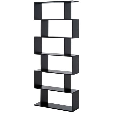 """main image of """"HOMCOM Estantería Librería 6 Estantes Comedor Salón Diseño Moderno Pared 80x23x192cm - Negro"""""""