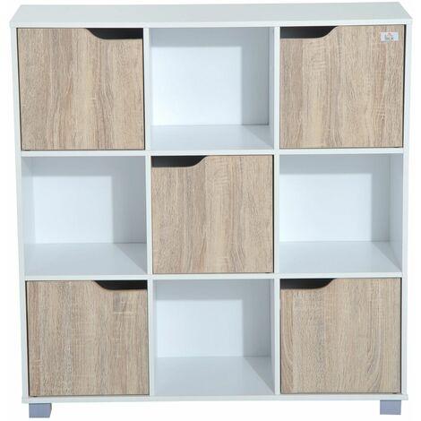 HOMCOM Estantería Librería Alta para libros tipo Biblioteca Organizador Multifuncional Blanco-Roble (9 Cubos)