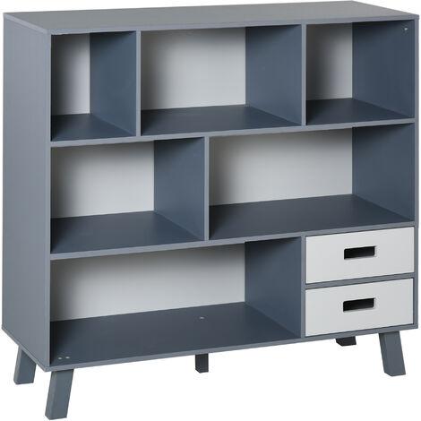 HOMCOM Estantería Librería con 6 Compartimentos para Libros y 2 Cajones 105x30x96 cm - Azul y Gris