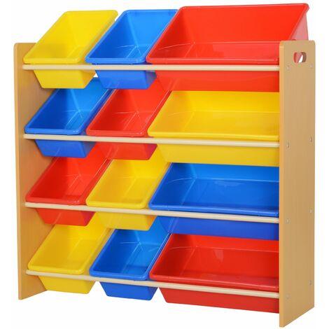 HOMCOM Estantería Organizador para Juguetes Libros Habitación Infantil con 12 Cajas