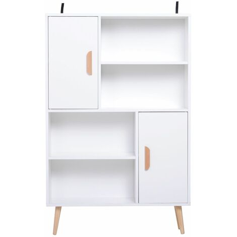 HOMCOM Estantería para Libros Librería 4 Estantes 2 Puertas Biblioteca Organizador
