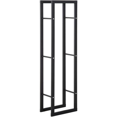 Homcom étagère pour bois en fer noir, 40x25x150cm