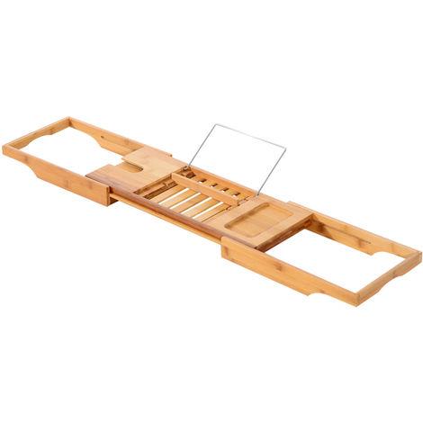 Homcom Extendable Bamboo Bath Tub Rack Bathroom Storage Holder Tray Shelf Bathtub Caddy