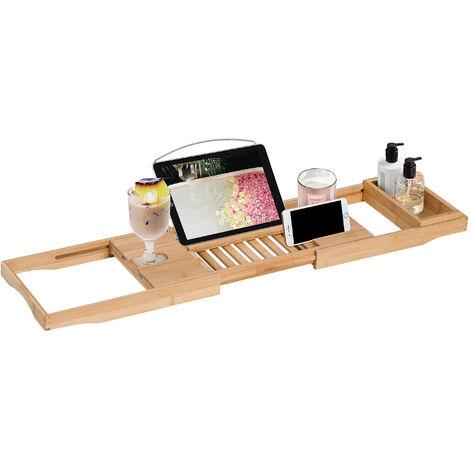HOMCOM Extendable Bamboo Bathtub Shelf Rack Bath Caddy Tray Bathroom Storage