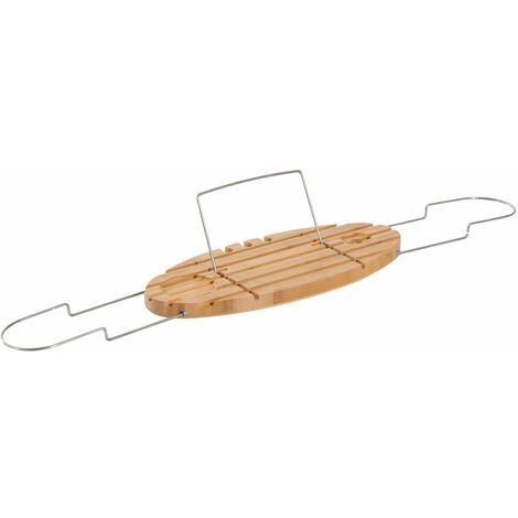 HOMCOM Extendable Bamboo Bathtub Shelf Rack Bath Caddy Tray Bathroom Storage with Book iPad Stand Wine Glass Holder