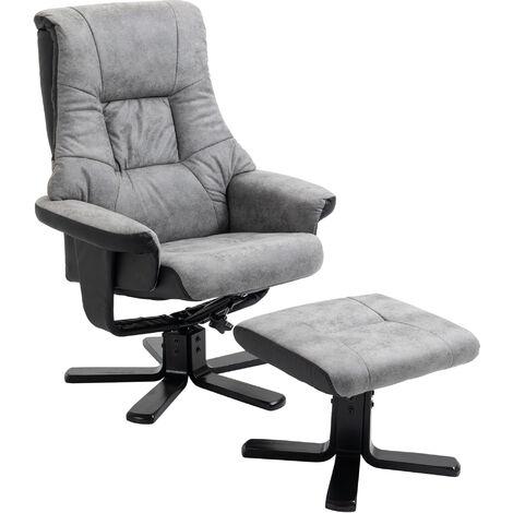 HOMCOM Fabric Recliner Armchair Footstool Duo Vintage Wood Base Home Grey