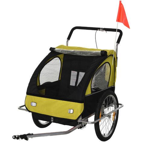 HOMCOM® Fahrradanhänger Kinderfahrradanhänger 2in1 für 2 Kinder gelb-schwarz L129 x B85 x H105 cm