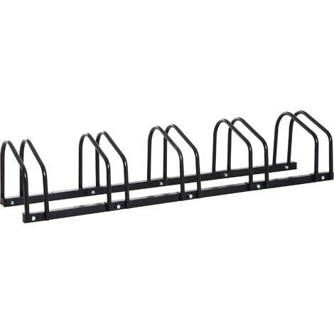 HOMCOM® Fahrradständer Aufstellständer 5 Fahrräder Schwarz - schwarz