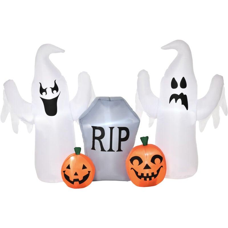 Fantasmas Inflables de Halloween 122 cm con Luces LED Decoración Inflable Iluminación de Blanco Frío para Exterior Interior Fiestas 182x57x122 cm