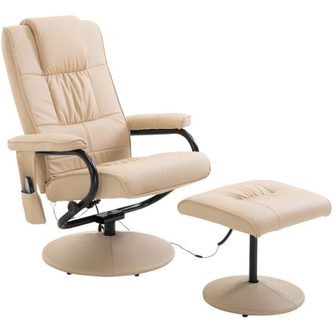 Homcom Faux Leather Massage Recliner Chair Easy Sofa Armchair Couch Bed with Foot Stool - Cream