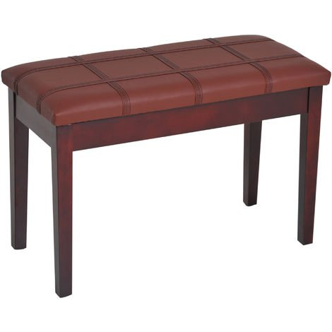 HOMCOM Faux Leather Piano Stool Double Duet Bench with Storage 75L x 35W x 49H (cm) - Brown