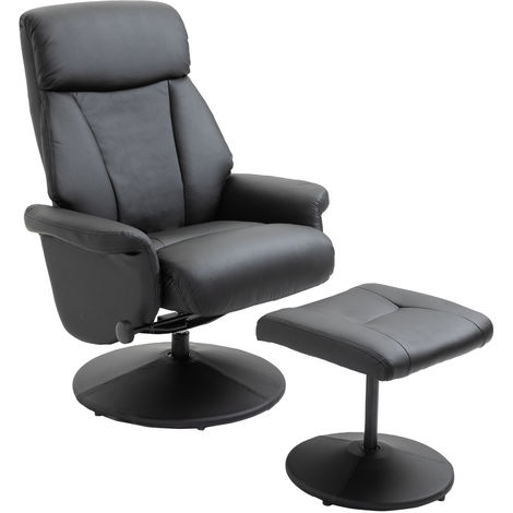 HOMCOM Faux Leather PU Recliner Chair Ottoman Set Home Office Furniture Black