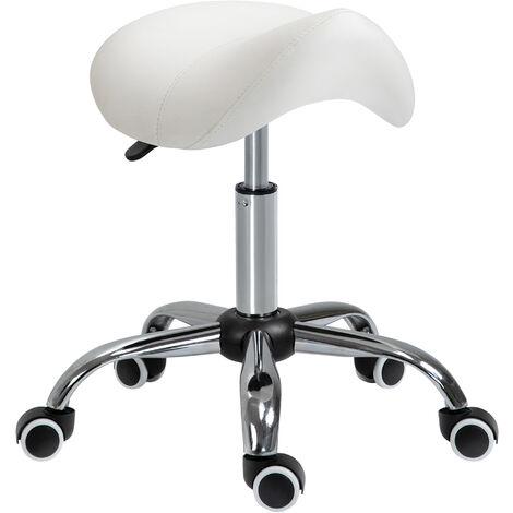 "main image of ""HOMCOM Faux Leather Saddle Stool Height Adjustable 5 Wheels Salon Seat Beige"""