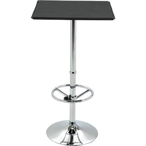 HOMCOM Faux Leather Square Bar Table Adjustable Footrest w/ Metal Frame Black