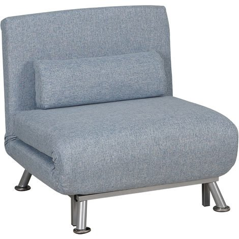 """main image of """"HOMCOM Faux Suede Sofa Bed Chair 3-in-1 Adjustable Back w/ Metal Frame Blue"""""""
