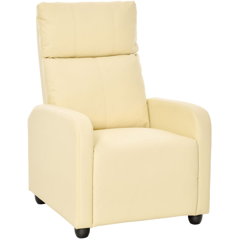 ® Fernsehsessel | Eco-Leder, Schaumstoff, Holz, Metall | 69,5 x 89,5 x 104,5 cm | Creme - creme - Homcom
