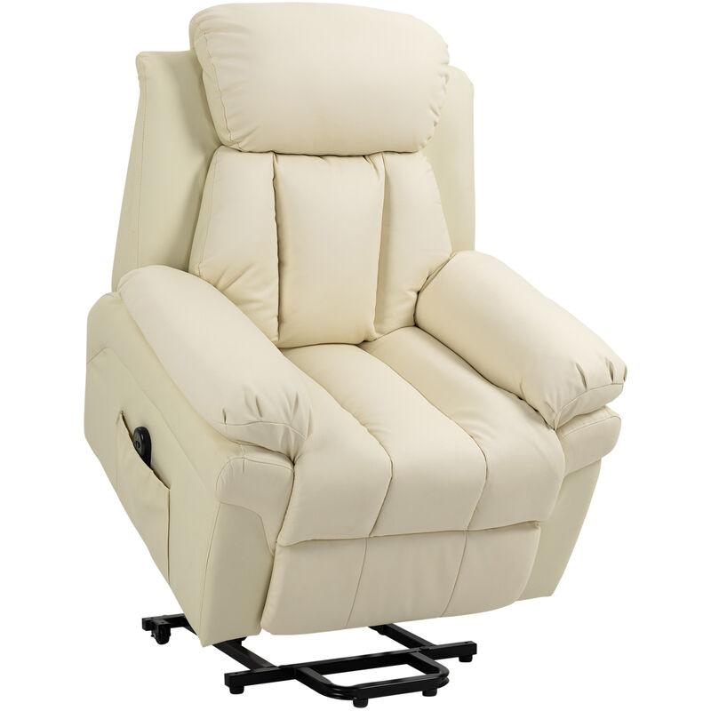 ® Sessel mit Aufstehhilfe Kunstleder, Metall, Kunststoff, 96 x 93 x 103 cm, Creme - creme - Homcom