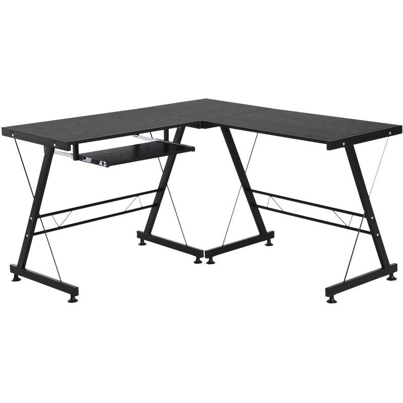 ® Computertisch Schreibtisch Arbeitsstation flexibel MDF Stahl Schwarz - schwarz - Homcom