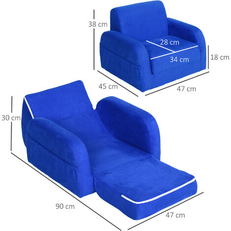 HOMCOM Flip Out Kids Flannel Sofa Bed Armchair Padded Seat 3-6 Yrs Blue