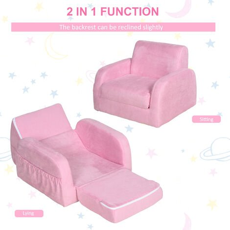 HOMCOM Flip Out Kids Flannel Sofa Bed Armchair Padded Seat 3-6 Yrs Pink