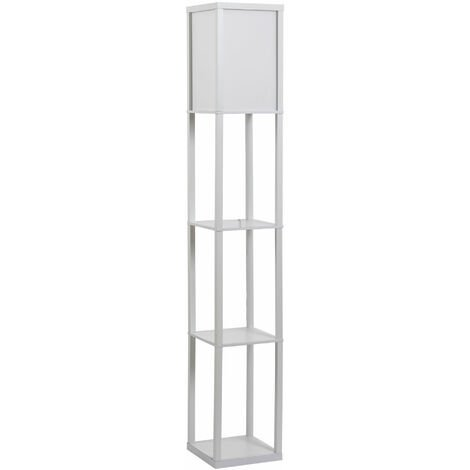 HOMCOM Floor Lamp Reading Lamp w/ 3-Tier Storage Shelf Home Office White