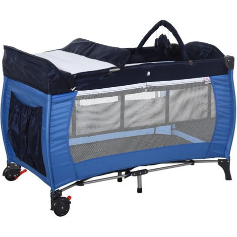 HOMCOM Foldable Baby Travel Cot Bassinet w/ Wheels Metal Frame Mesh Blue