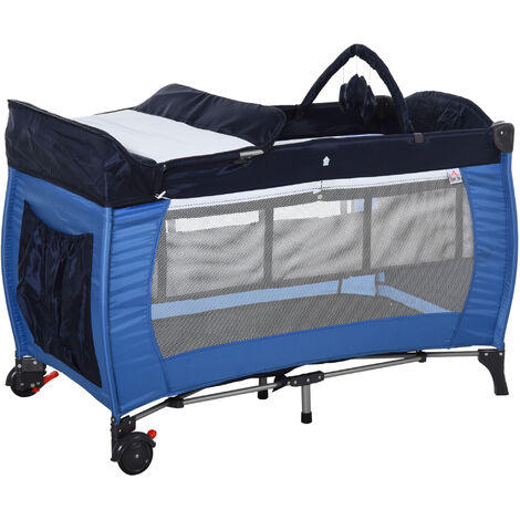 HOMCOM Foldable Baby Travel Cot Bassinet w/ Wheels Metal Frame Mesh Blue