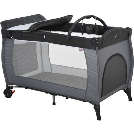HOMCOM Foldable Baby Travel Cot Bassinet w/ Wheels Metal Frame Mesh Grey