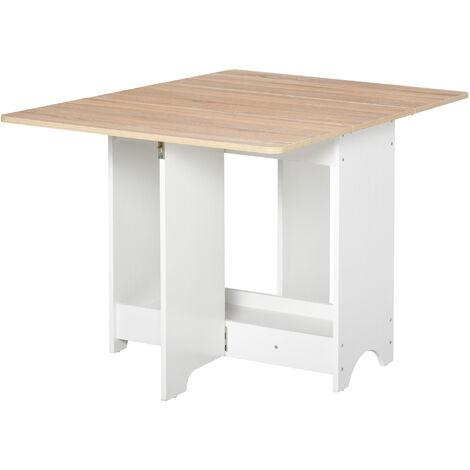 HOMCOM Foldable Dining Table Drop-Leaf Folding Desk Table & Shelf Compact Furniture