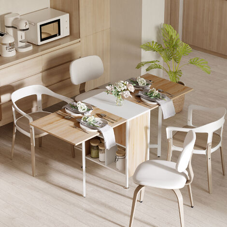 HOMCOM Foldable Drop Leaf Dining Kitchen Table Folding Computer Desk Shelves - Oak & White