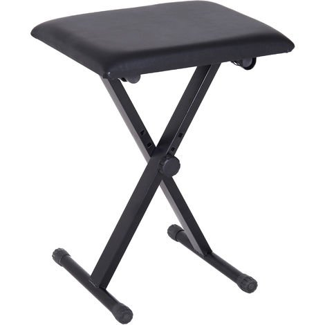 Astounding Homcom Foldable Keyboard Stool Padded Seat X Frame Chair Adjustable Height Black Evergreenethics Interior Chair Design Evergreenethicsorg